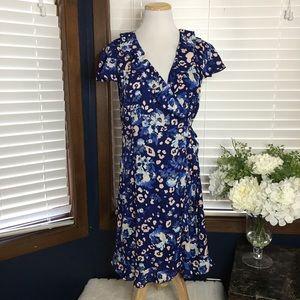 Collective Concepts Blue Floral Wrap Dress Large